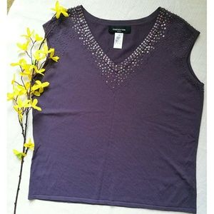 New sleeveless Iridescent beaded top Size 1X